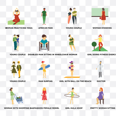 Set Of 16 transparent icons such as Pretty Woman sitting, girl hula hoop, Fashion female model, woman with shopping bag, young couple on transparent background, pixel perfect