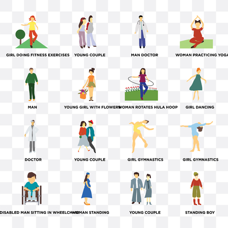 Set Of 16 transparent icons such as Standing boy, young couple, Woman standing, Disabled man sitting in wheelchair, Man on transparent background, pixel perfect