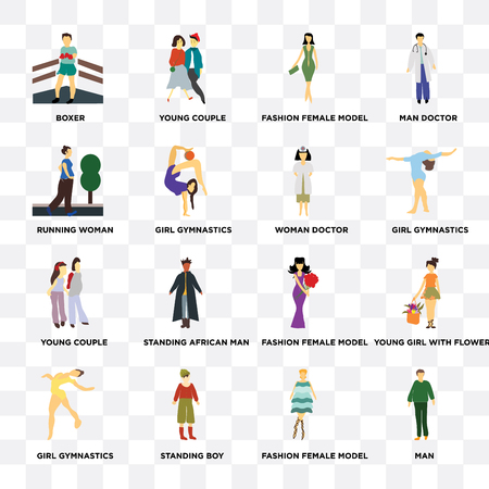 Set Of 16 icons such as Man, Fashion female model, Standing boy, Girl gymnastics, young girl with flowers, Boxer, running woman, couple, Woman doctor, web UI editable icon pack, pixel perfect