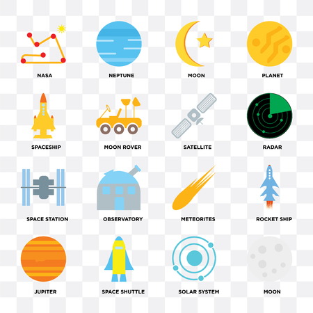 Set Of 16 icons such as Moon, Solar system, Space shuttle, Jupiter, Rocket ship, , Spaceship, station, Satellite on transparent background, pixel perfect