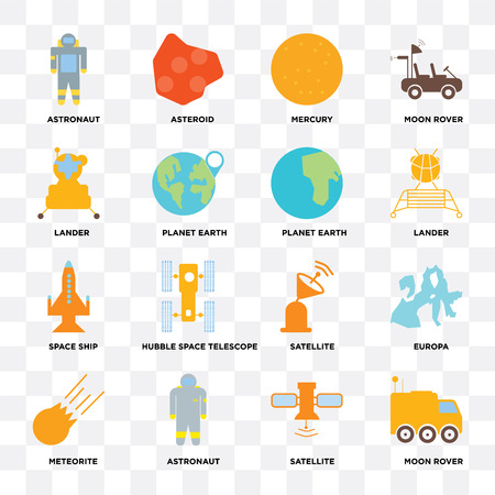 Set Of 16 icons such as Moon rover, Satellite, Astronaut, Meteorite, Europa, Lander, Space ship, Planet earth on transparent background, pixel perfect