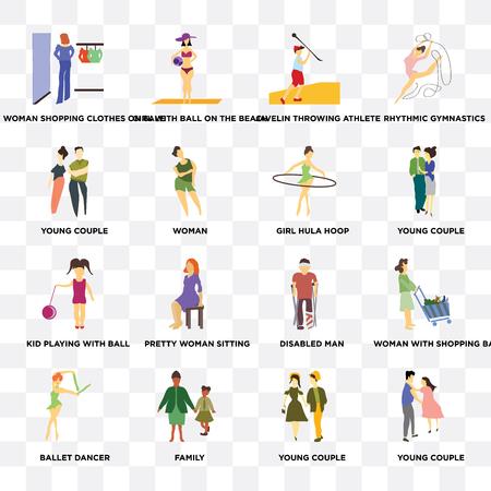 Conjunto de 16 iconos transparentes como pareja joven, mujer, familia, bailarina de ballet, mujer con bolsa de compras, gimnasia rítmica sobre fondo transparente, pixel perfecto