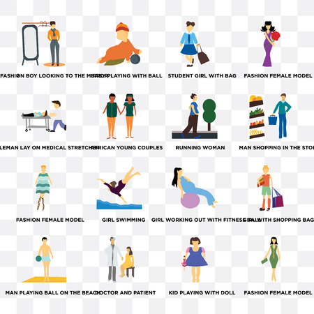 Set Of 16 transparent icons such as Fashion female model, Kid playing with doll, doctor and patient, african young couples on transparent background, pixel perfect