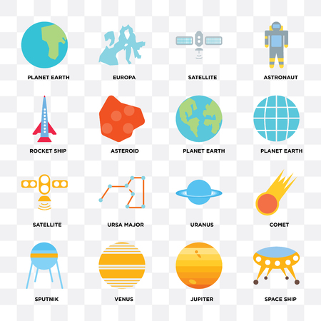 Set Of 16 icons such as Space ship, Jupiter, Venus, Sputnik, Comet, Planet earth, Rocket Satellite on transparent background, pixel perfect