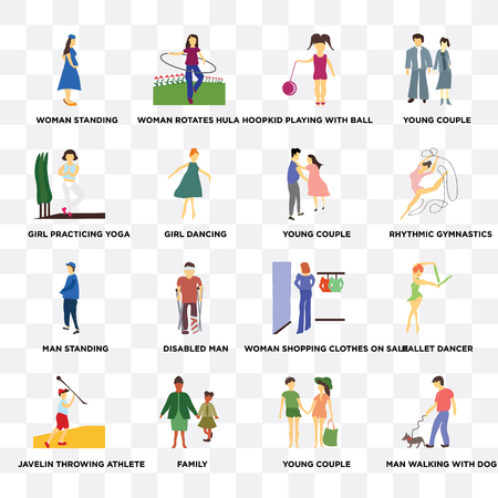 Set Of 16 transparent icons such as Man walking with dog, Girl dancing, family, Javelin throwing athlete, Ballet dancer, young couple on transparent background, pixel perfect