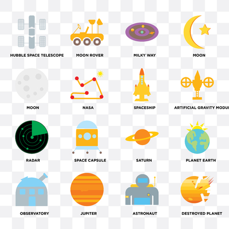 Set Of 16 icons such as Destroyed planet, Astronaut, Jupiter, Observatory, Planet earth, Hubble space telescope, Moon, Radar, Spaceship on transparent background, pixel perfect