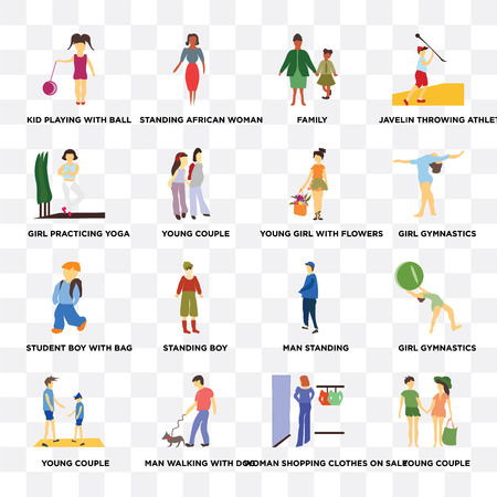 Set Of 16 transparent icons such as Young couple, young Man walking with dog, Girl gymnastics, Javelin throwing athlete on transparent background, pixel perfect