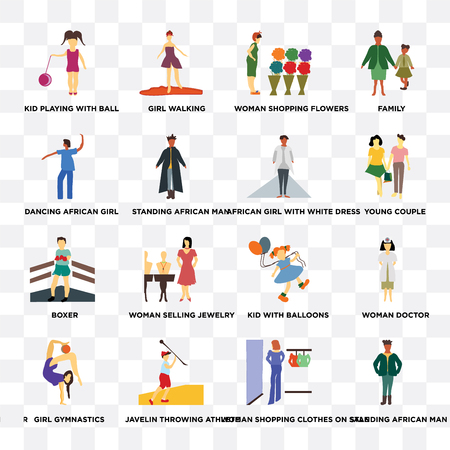 Set Of 16 transparent icons such as standing African man, Javelin throwing athlete, Girl gymnastics, Woman doctor, family on transparent background, pixel perfect