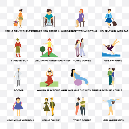 Set Of 16 transparent icons such as Girl gymnastics, young couple, Kid playing with doll, Standing boy on transparent background, pixel perfect Иллюстрация