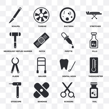 Set Of 16 icons such as Vial, Scissors, Bandage, Otoscope, Thermometer, Scalpel, Neurology reflex hammer, Pliers, Pipette on transparent background, pixel perfect