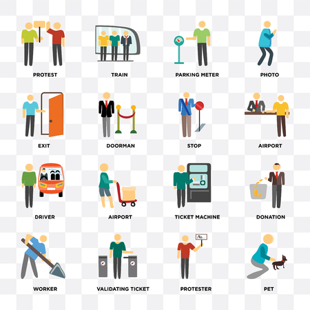 Set Of 16 icons such as Pet, Protester, Validating ticket, Worker, Donation, Protest, Exit, Driver, Stop on transparent background, pixel perfect