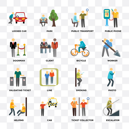 Set Of 16 icons such as Escalator, Ticket collector, Cab, Helping, Photo, Locked car, Doorman, Validating ticket, Bicycle on transparent background, pixel perfect