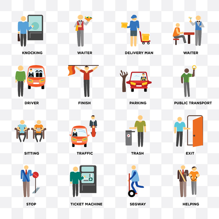 Set Of 16 icons such as Helping, Ticket machine, Stop, Exit, Knocking, Driver, Sitting, Parking on transparent background, pixel perfect