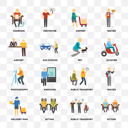 Set Of 16 icons such as Sitting, Public transport, Delivery man, Waiter, Charging, Airport, Photography, Pet on transparent background, pixel perfect