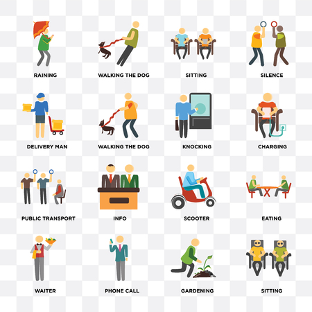 Set Of 16 icons such as Sitting, Gardening, Phone call, Waiter, Eating, Raining, Delivery man, Public transport, Knocking on transparent background, pixel perfect