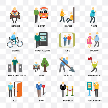 Set Of 16 icons such as Public phone, Doorman, Stop, Exit, Waving flag, Reading, Bicycle, Validating ticket, Line on transparent background, pixel perfect