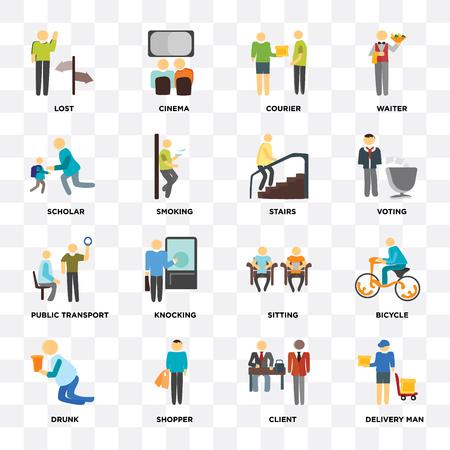 Set di 16 icone come fattorino, cliente, acquirente, ubriaco, bicicletta, perso, studioso, trasporto pubblico, scale su sfondo trasparente, pixel perfetto Vettoriali