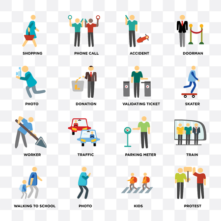 Set Of 16 icons such as Protest, Kids, Photo, Walking to school, Train, Shopping, Worker, Validating ticket on transparent background, pixel perfect