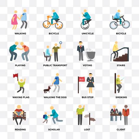 Satz von 16 Symbolen wie Client, Lost, Scholar, Reading, Smoke, Walking, Playing, Waving Flag, Voting auf transparentem Hintergrund, Pixel Perfect
