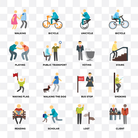 Set Of 16 icons such as Client, Lost, Scholar, Reading, Smoking, Walking, Playing, Waving flag, Voting on transparent background, pixel perfect Иллюстрация