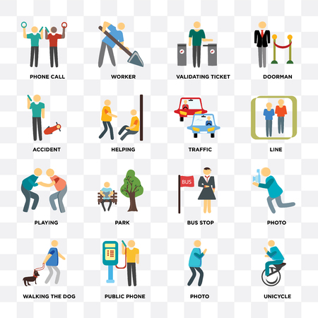 Set Of 16 icons such as Unicycle, Photo, Public phone, Walking the dog, Phone call, Accident, Playing, Traffic on transparent background, pixel perfect