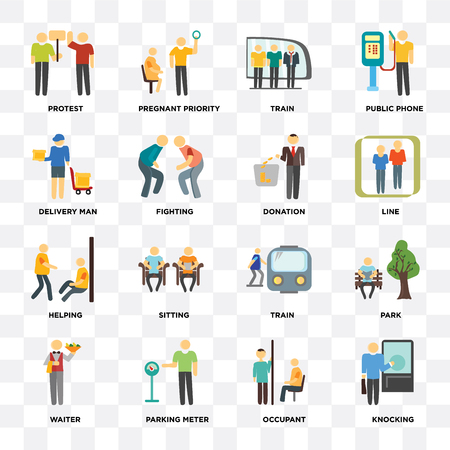 Set Of 16 icons such as Knocking, Occupant, Parking meter, Waiter, Park, Protest, Delivery man, Helping, Donation on transparent background, pixel perfect Illustration