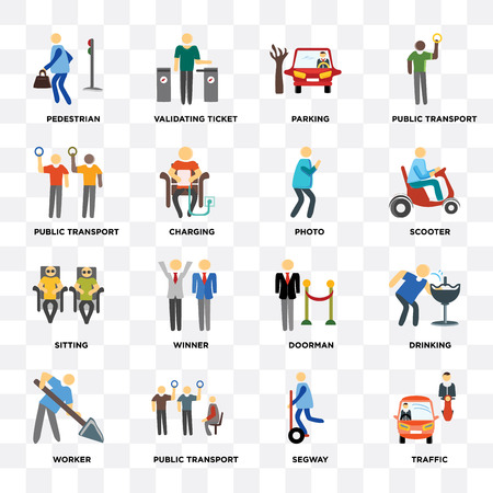 Set Of 16 icons such as Traffic, Public transport, Worker, Drinking, Pedestrian, Sitting, Photo on transparent background, pixel perfect