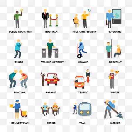 Set Of 16 icons such as Worker, Train, Sitting, Delivery man, Waiter, Public transport, Photo, Fighting,on transparent background, pixel perfect