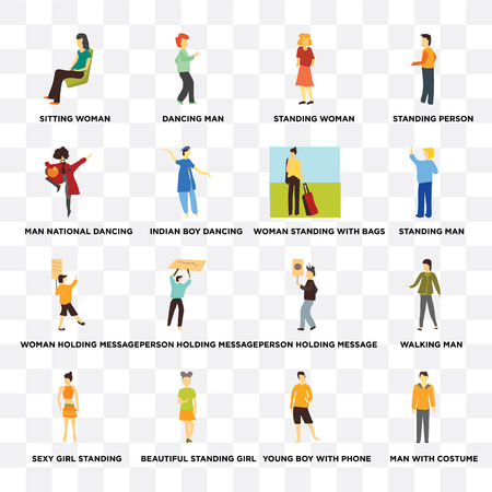 Set Of 16 transparent icons such as Man with costume, indian boy dancing, Beautiful standing girl, Sexy girl standing, Walking man, Standing person on transparent background, pixel perfect