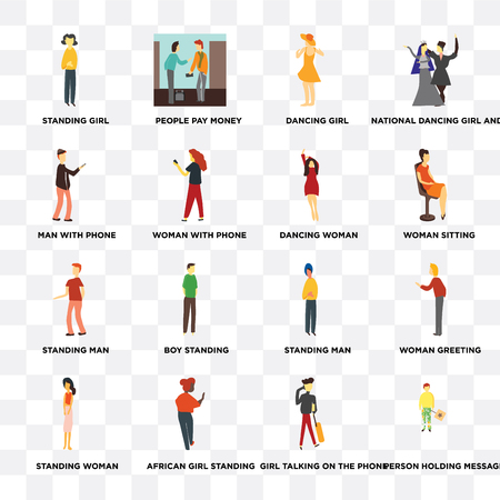 Set Of 16 transparent icons such as Person holding message, Girl talking on the phone, African girl standing, Standing woman, Man with web UI icon pack, pixel perfect