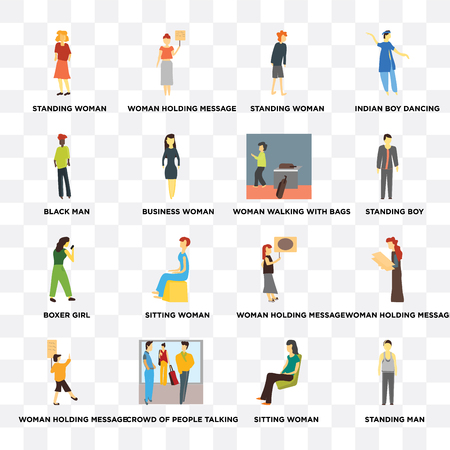 Set Of 16 transparent icons such as Standing man, Sitting woman, Crowd of people talking, Woman holding message, Black web UI icon pack, pixel perfect