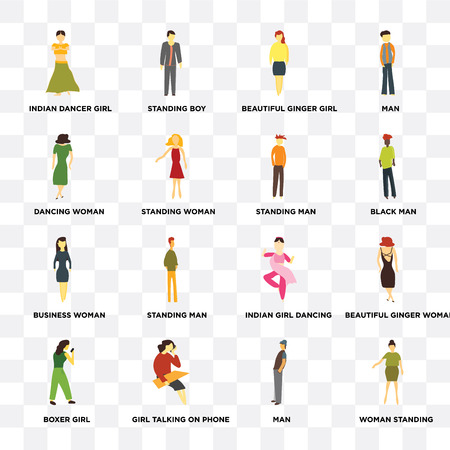 Set Of 16 transparent icons such as Woman standing, Standing woman, Girl talking on phone, Boxer girl, Beautiful ginger Man on transparent background, pixel perfect