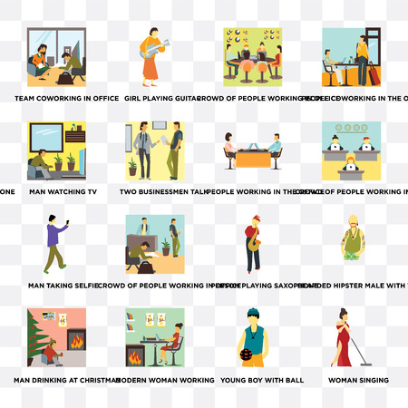 Set Of 16 transparent icons such as Woman singing, Young boy with ball, Modern woman working, Man drinking at Christmas, watching TV on transparent background, pixel perfect Иллюстрация