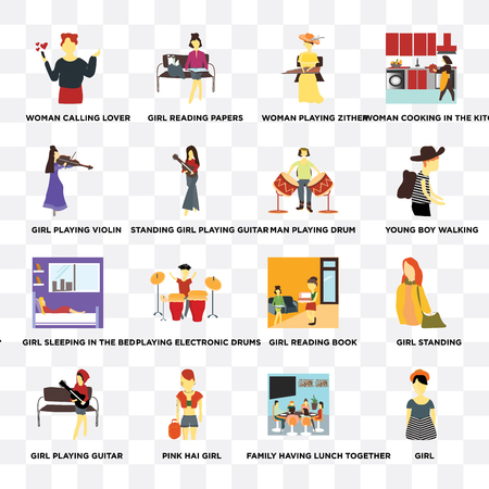Set Of 16 transparent icons such as Girl, Standing girl playing guitar, Pink hai girl, Girl standing, Woman cooking in the kitchen on transparent background, pixel perfect Vektoros illusztráció