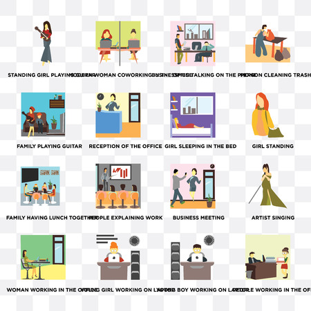Set Of 16 transparent icons such as People working in the office, Young boy on laptop, girl Reception of on transparent background, pixel perfect Illustration