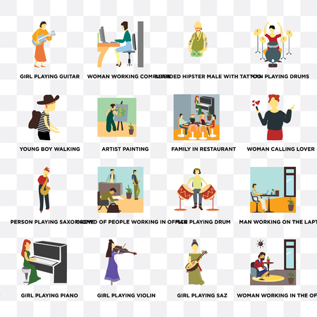 Set Of 16 transparent icons such as Woman working in the office, Girl playing saz, violin, piano, Young boy walking on transparent background, pixel perfect