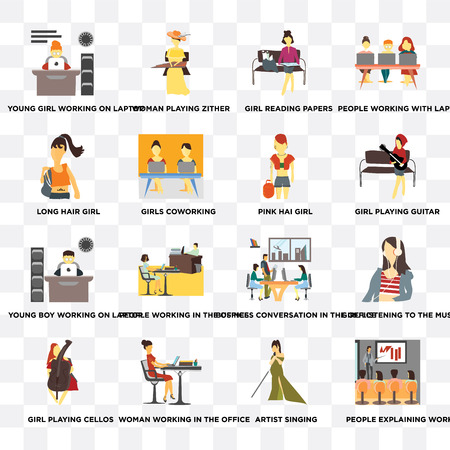 Set Of 16 transparent icons such as People explaining work, Artist singing, Woman working in the office, Girl playing cellos, Long hair girl on transparent background, pixel perfect