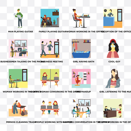 Set Of 16 transparent icons such as People working in the office, Business conversation with laptop, meeting on transparent background, pixel perfect