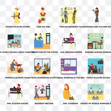 Ensemble de 16 icônes transparentes telles que foule de personnes travaillant au bureau, fille debout, réunion d'affaires, jouer de la guitare, famille déjeunant ensemble sur fond transparent, pixel parfait