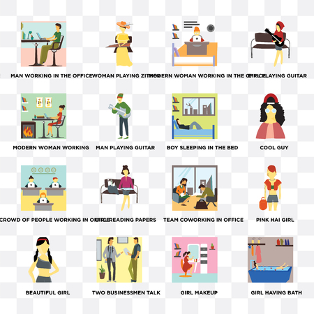 Set Of 16 transparent icons such as Girl having bath, Man playing guitar, Two Businessmen talk, Beautiful girl, Pink hai on transparent background, pixel perfect
