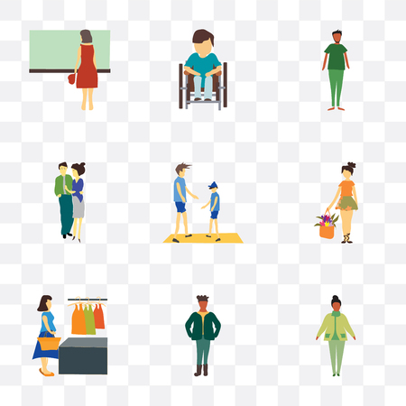 Set Of 9 simple transparency icons such as standing African woman, man, woman buying clothings, young girl with flowers, Young couple, Disabled man sitting
