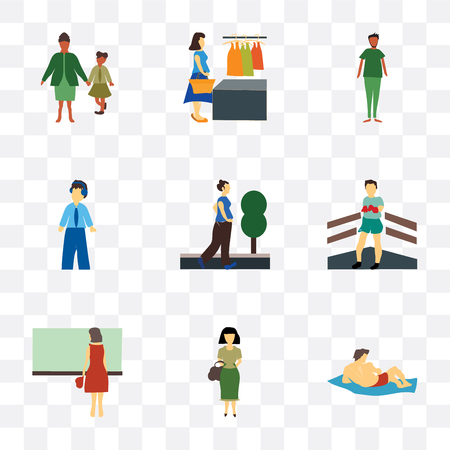 Set Of 9 simple transparency icons such as Man on the beach, Fashion female model, Woman standing, Boxer, running woman, student boy with headset, African man, woman buying clothings, family, can be  イラスト・ベクター素材