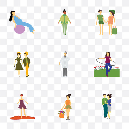 Set Of 9 simple transparency icons such as young couple, girl with flowers, Girl walking, woman rotates hula hoop, doctor, Young standing African woman, working out Illustration