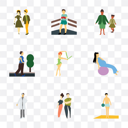 Set Of 9 simple transparency icons such as Man playing ball on the beach, young couple, doctor, Girl working out with fitness ball, Ballet dancer, running woman, family, Boxer, can be