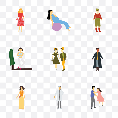 Set Of 9 simple transparency icons such as young couple, doctor, Fashion female model, standing African man, Girl practicing yoga, Standing boy, working out with fitness ball,