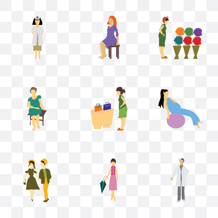 Set Of 9 simple transparency icons such as doctor, Fashion female model, young couple, Girl working out with fitness ball, woman buying bags, Pretty sitting, Woman shopping flowers,