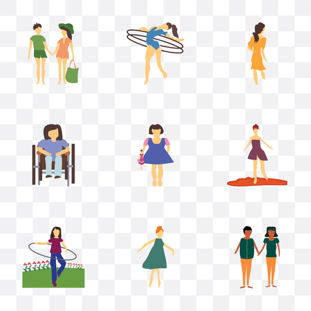 Set Of 9 simple transparency icons such as african young couples, Girl dancing, woman rotates hula hoop, walking, Kid playing with doll, Disabled sitting in wheelchair, Woman girl