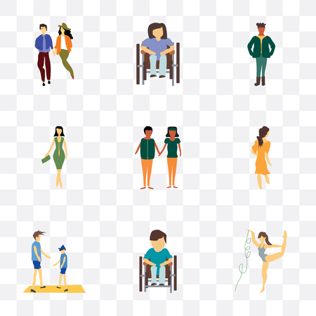 Set Of 9 simple transparency icons such as rhythmic gymnastics, Disabled man sitting in wheelchair, Young couple, Woman walking, african young couples, Fashion female model, standing African man,