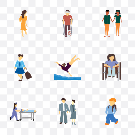 Set Of 9 simple transparency icons such as student boy with bag, young couple, nurse rush patient stretcher, Disabled woman sitting in wheelchair, Girl swimming, girl african