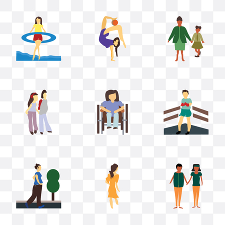 Set Of 9 simple transparency icons such as african young couples, Woman walking, running woman, Boxer, Disabled woman sitting in wheelchair, couple, family, Girl gymnastics, Gymnastics girl Ilustração